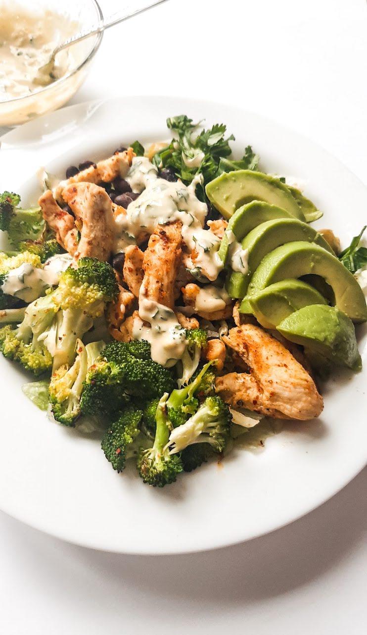 meal prep chicken green bowls - easy chicken salad recipes