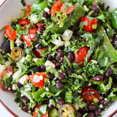 Mediterranean Black Bean Salad With Herbs & Feta