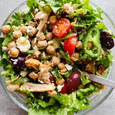 Healthy Chickpea, Feta & Chicken Salad Recipe