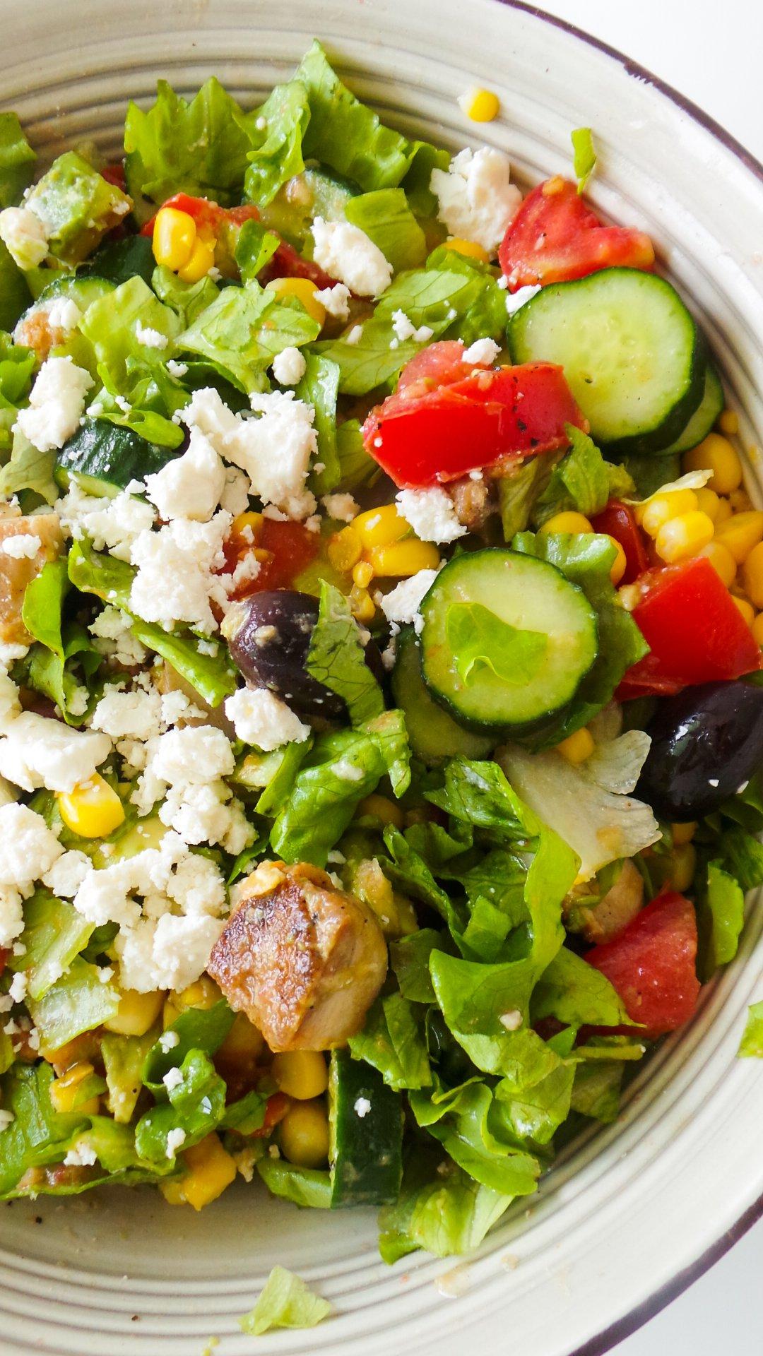 avocado chicken corn and feta salad - easy chicken salad recipes