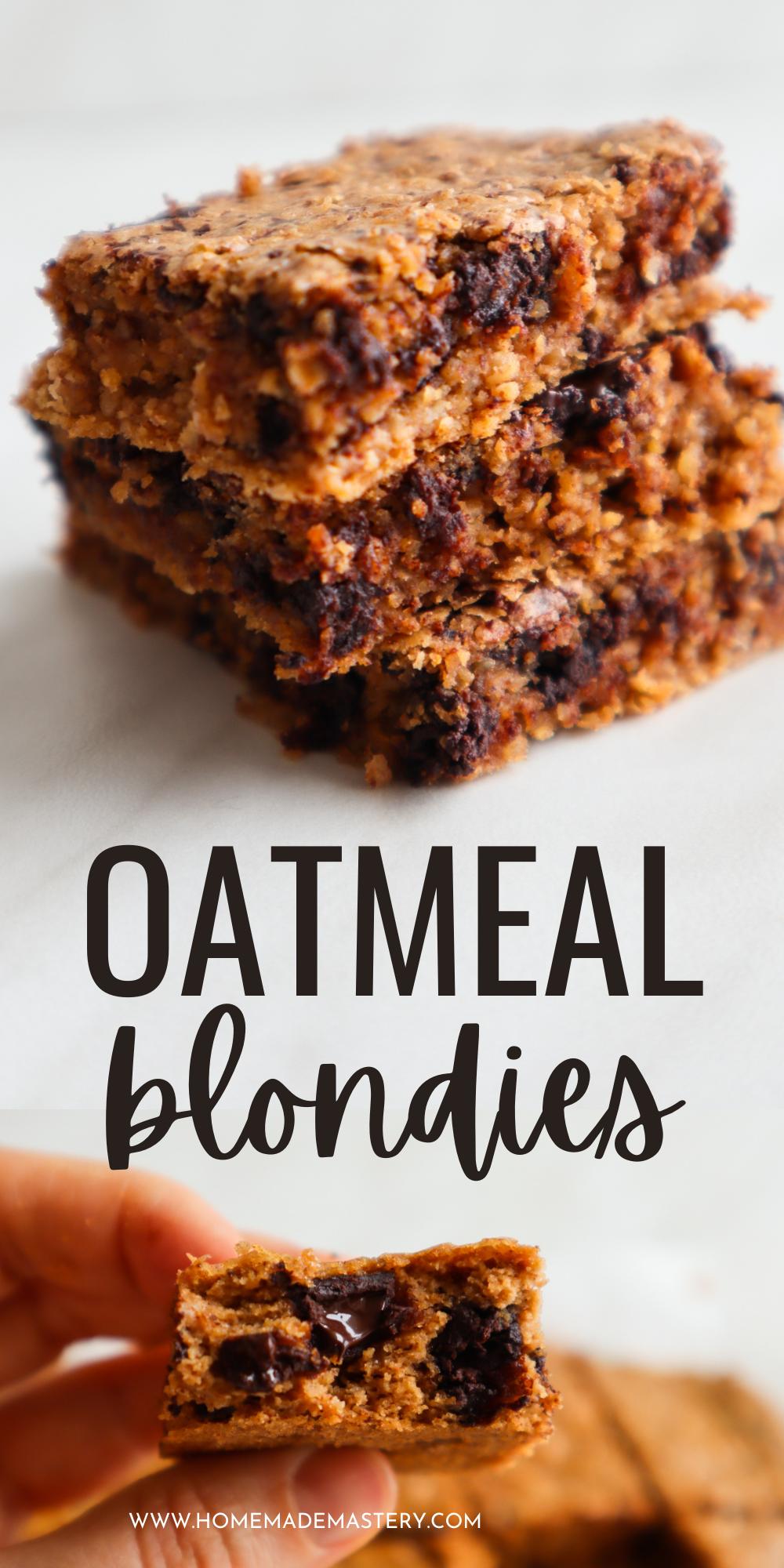 Delicious flourless almond butter oatmeal blondies - the best healthy dessert recipe ever!