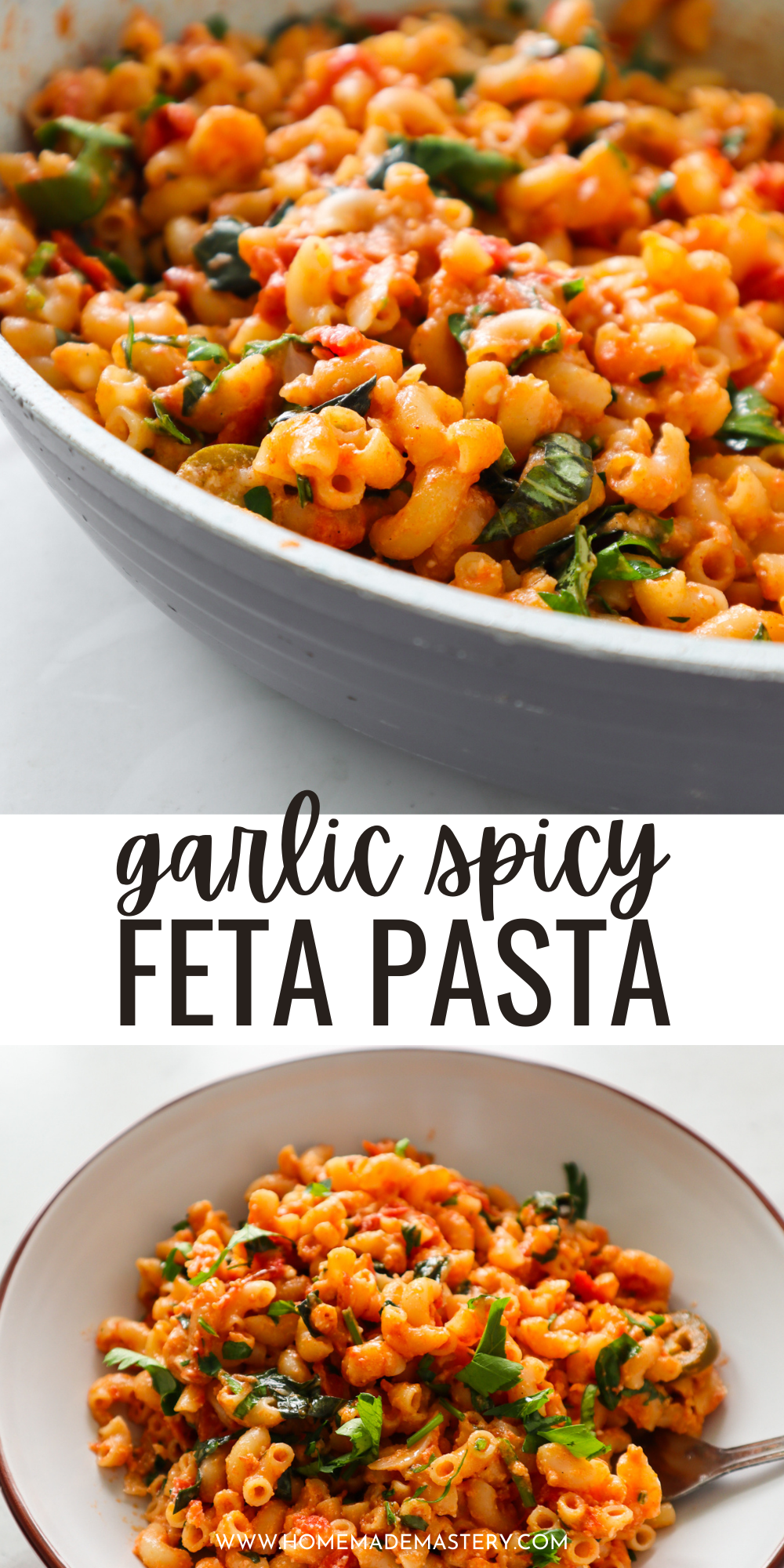This delicious spicy feta pasta recipe is ready in 12 minutes on the stove top and is the perfect quick dinner idea for busy weeknights!