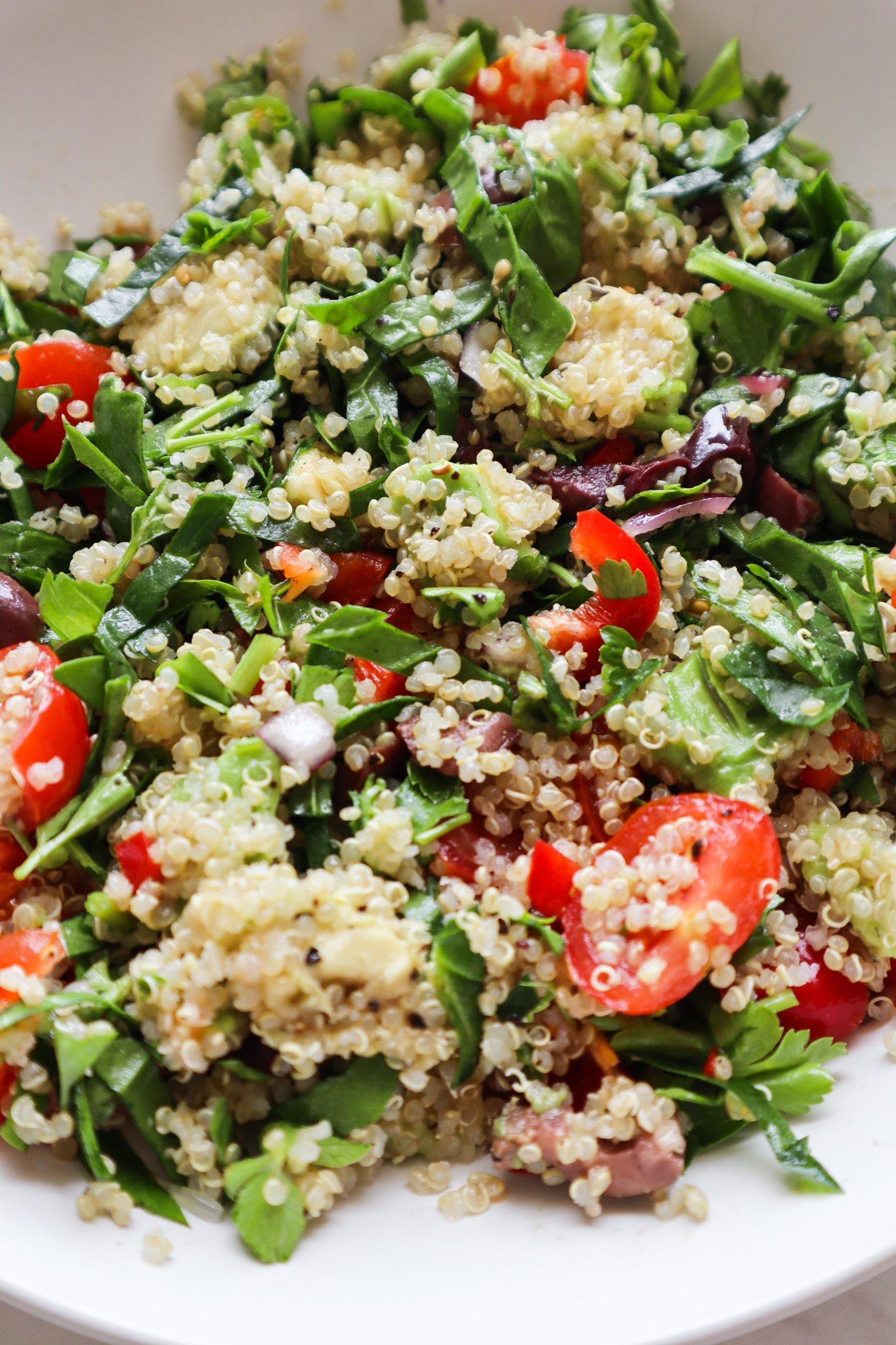 herby avocado quinoa salad - healthy vegetarian salad recipes