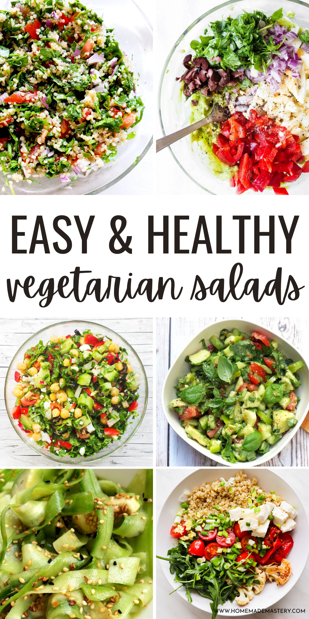 Eat a salad every day with this collection of easy healthy vegetarian salad recipes! These tasty salad ideas include healthy vegetable salads, filling meatless salads for lunch or dinner and plant-based salads packed with protein! Enjoy!