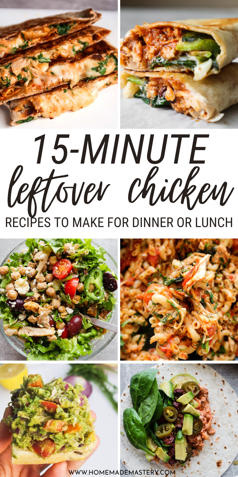 Make tasty chicken dinner in 10-20 minutes using rotisserie chicken or leftover shredded chicken! These super easy leftover chicken recipes are absolutely delicious, most of them also quite healthy and you'll want to make them again and again and again.