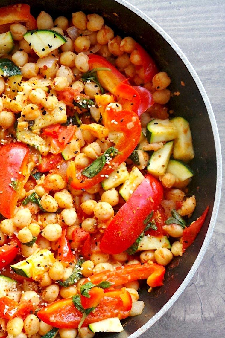 Mediterranean chickpea skillet recipe