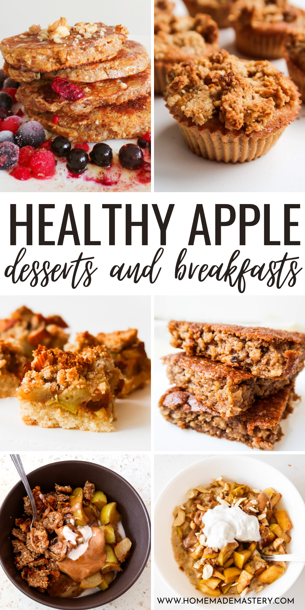healthy apple recipes for breakfast or dessert! These easy apple recipes are perfect for fall and include apple muffins, apple cakes, apple pancakes, apple crumble, apple pie and more!