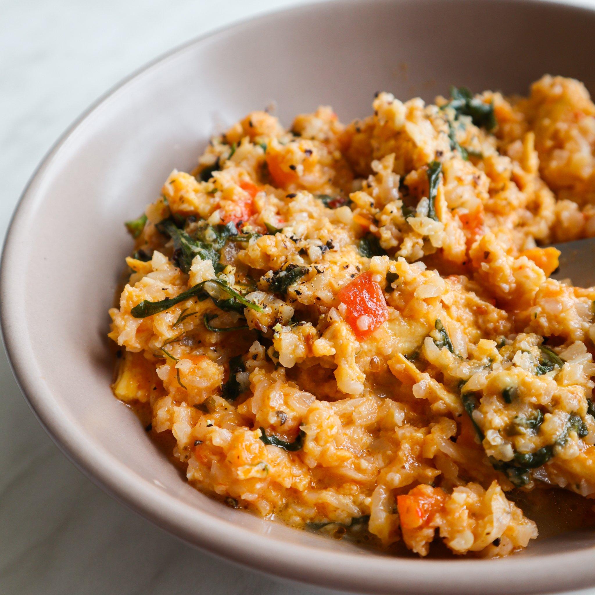 pesto chicken cauliflower rice - leftover chicken recipes