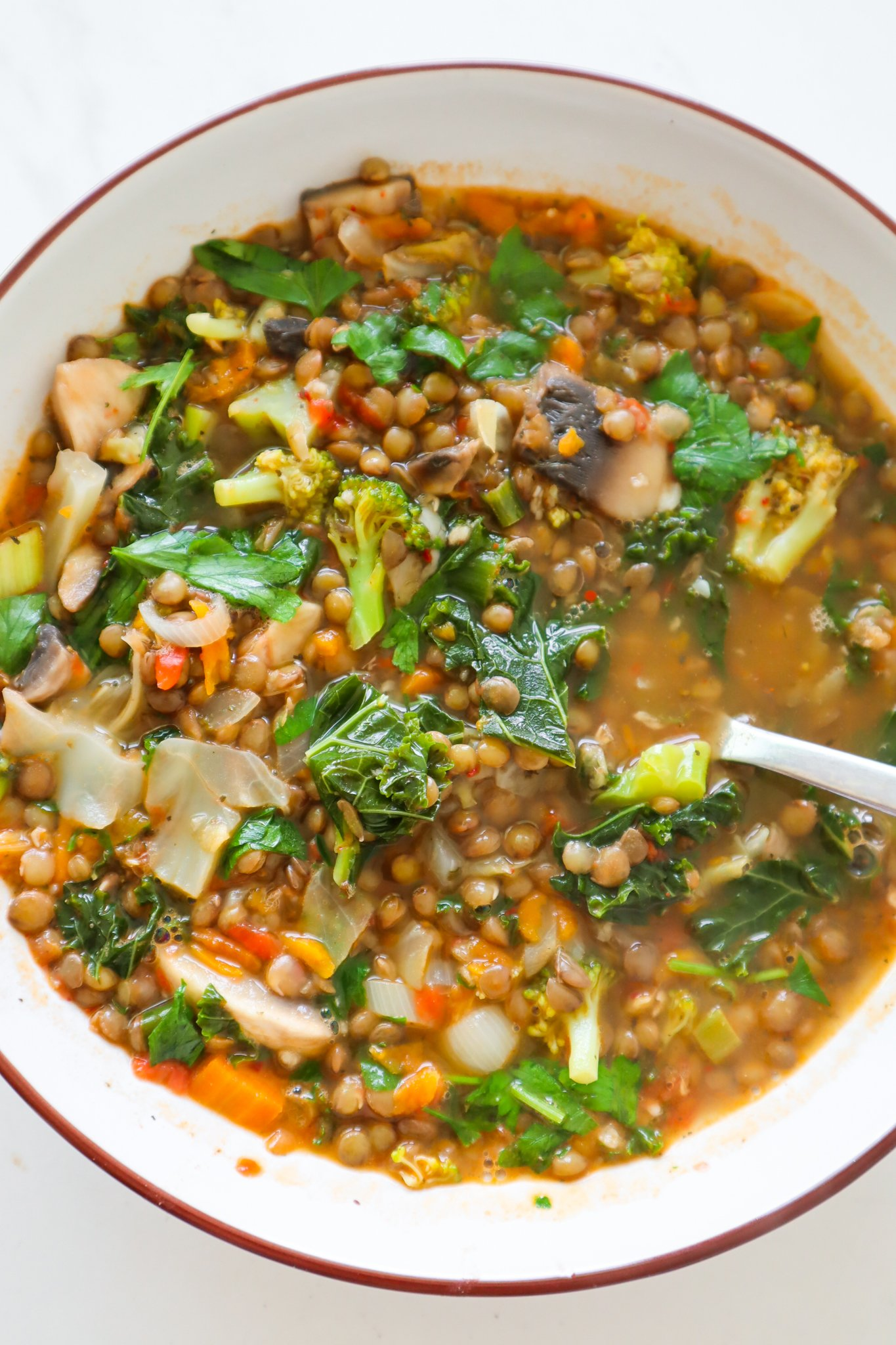 a bowl of hearty vegetable soup on a rainy day! Try this healthy and easy lentil vegetable soup recipe made with dried lentils, simple vegetables, herbs and spices, it is such a tasty lentil recipe and a vegan soup that is ready in no time.