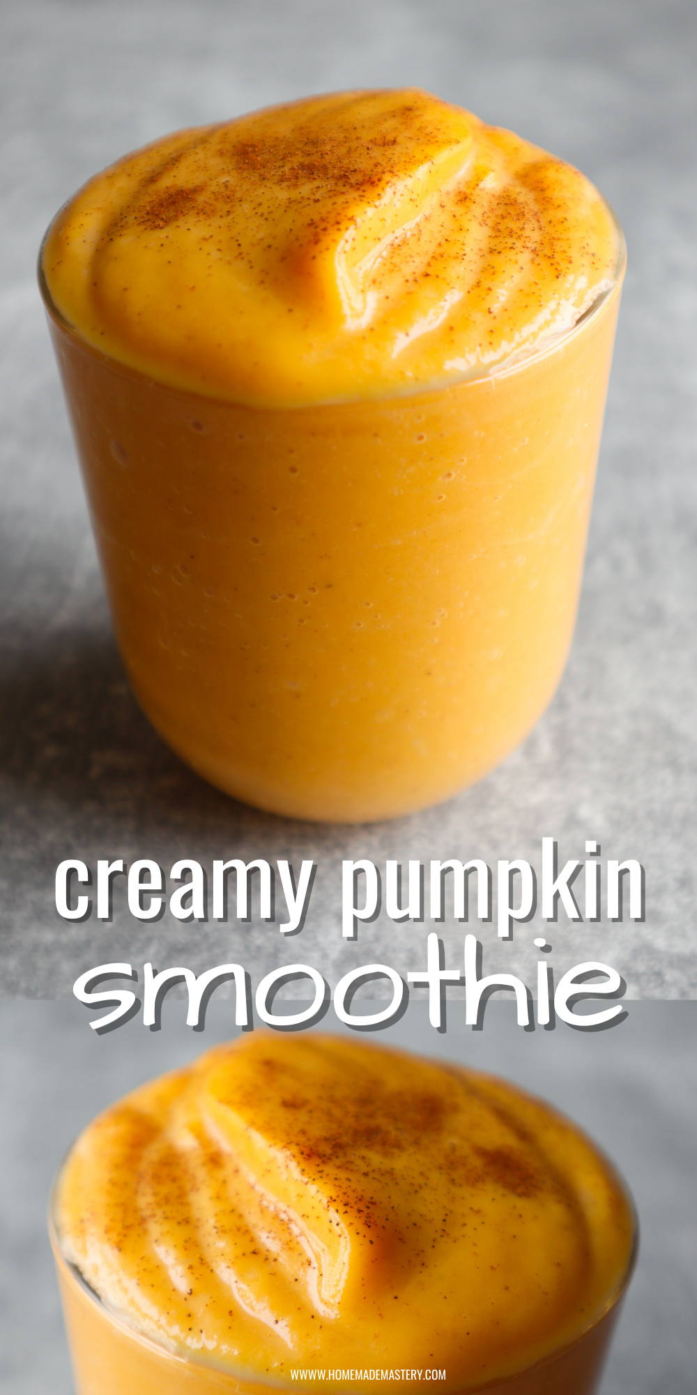 This easy pumpkin smoothie recipe is made with simple ingredients and is such an easy way to use up roasted pumpkin! You will love this delicious pumpkin recipe for a quick snack, dessert or even breakfast!