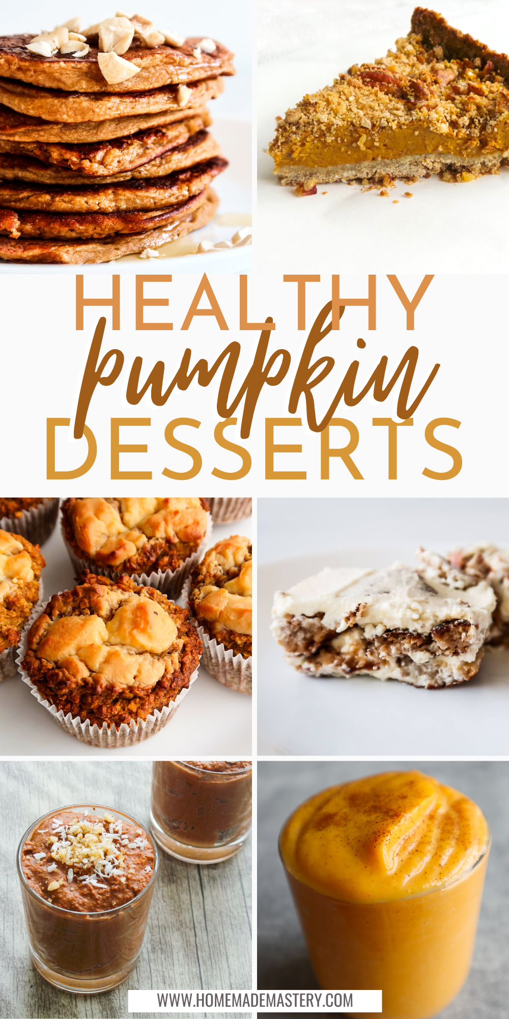 This is a collection of delicious easy and healthy pumpkin dessert recipes that anyone can make! This pumpkin recipe roundup includes oatmeal pumpkin pancakes, pumpkin muffins, healthy vegan pumpkin pie recipe, pumpkin pie bars and more!